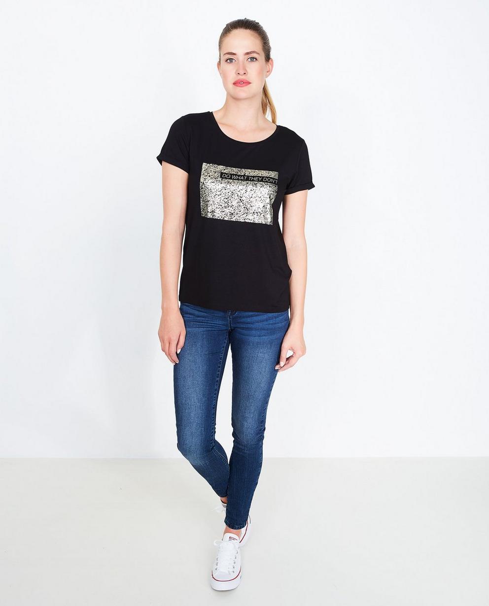 T-shirt imprimé pailleté - rayé en noir et blanc - JBC
